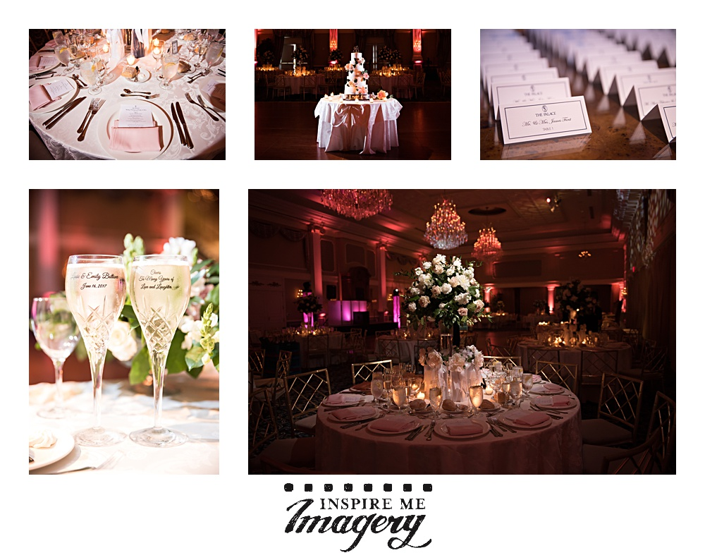 Details from the wedding reception at the Palace at Somerset Park. Their personalized champagne flutes were beautiful, and the pinks and greens look beautiful together.