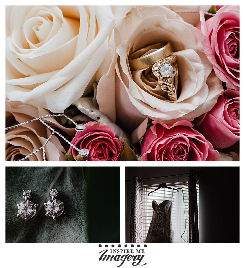 We love the gorgeous engagement ring and wedding bands nestled in soft pink roses. They're complimented by the diamond earrings against a mossy green background, and the moodiness of a backlit wedding gown.