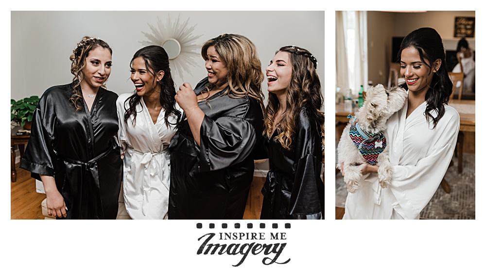 Time to get ready! The bride has a laugh with her girls and a cuddle with her pup.