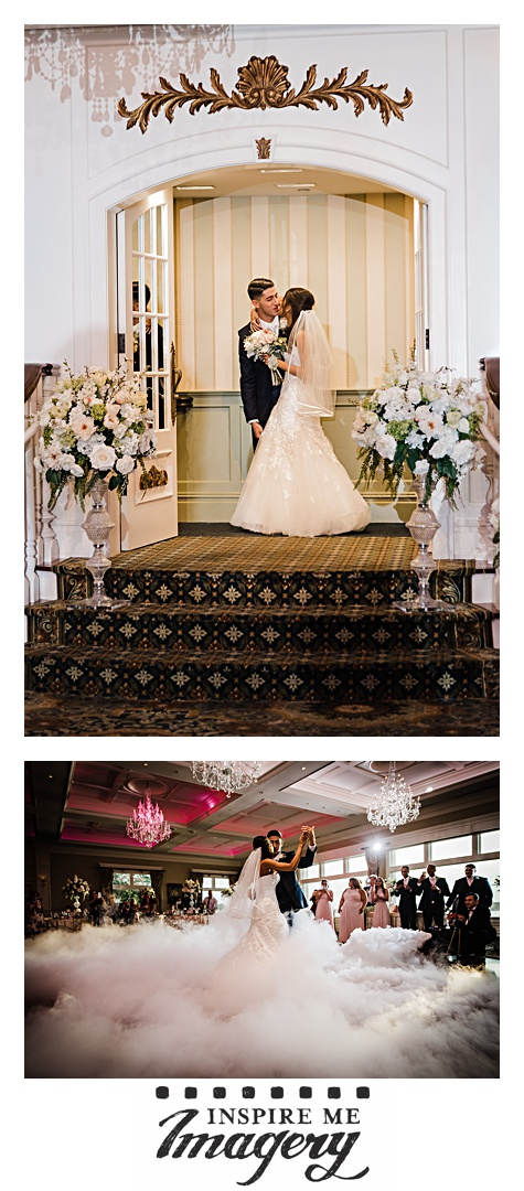 The doors open to reveal the bride and groom, and then they begin their first dance. The fog is such an awesome touch!