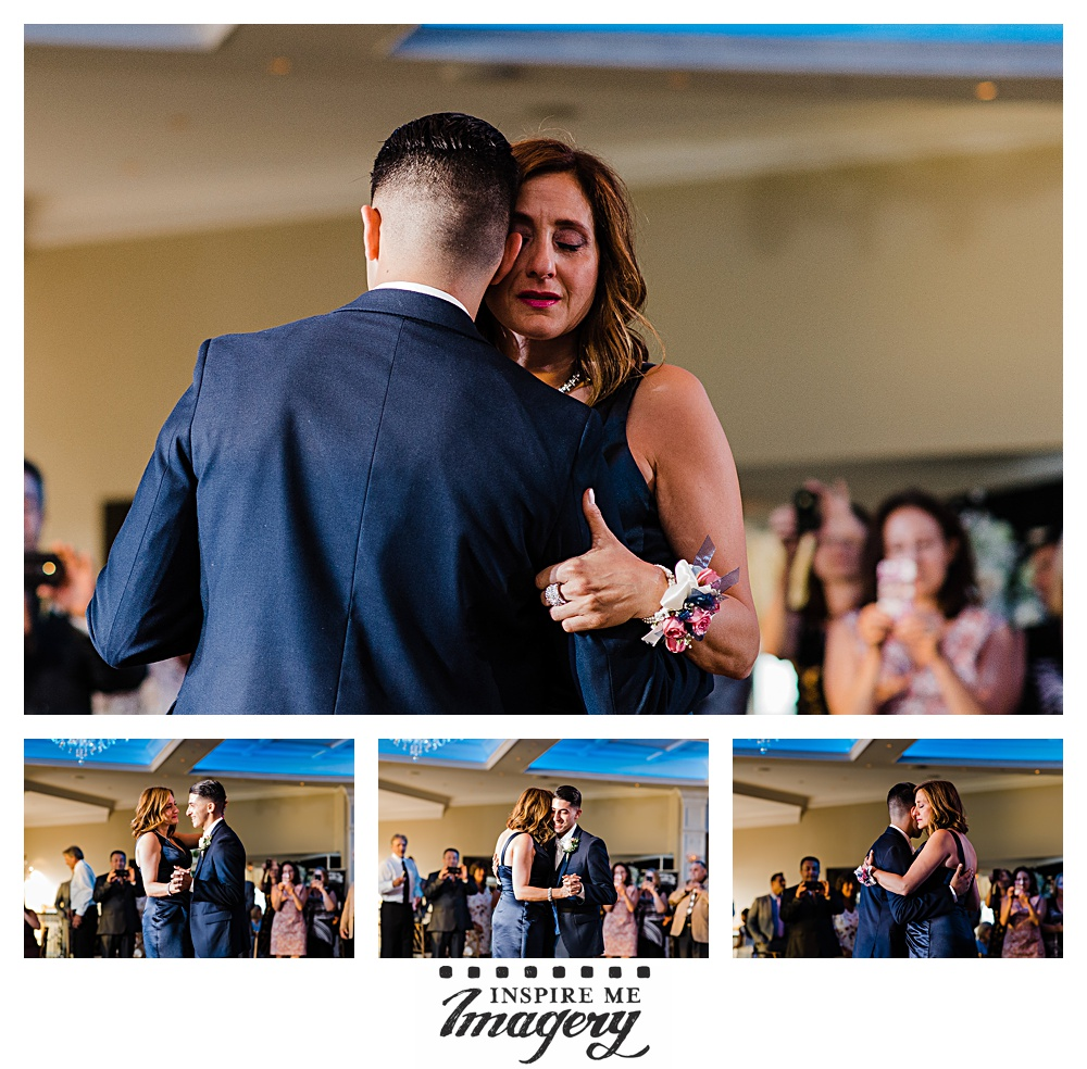 The groom's dance with his mother was an emotional one.
