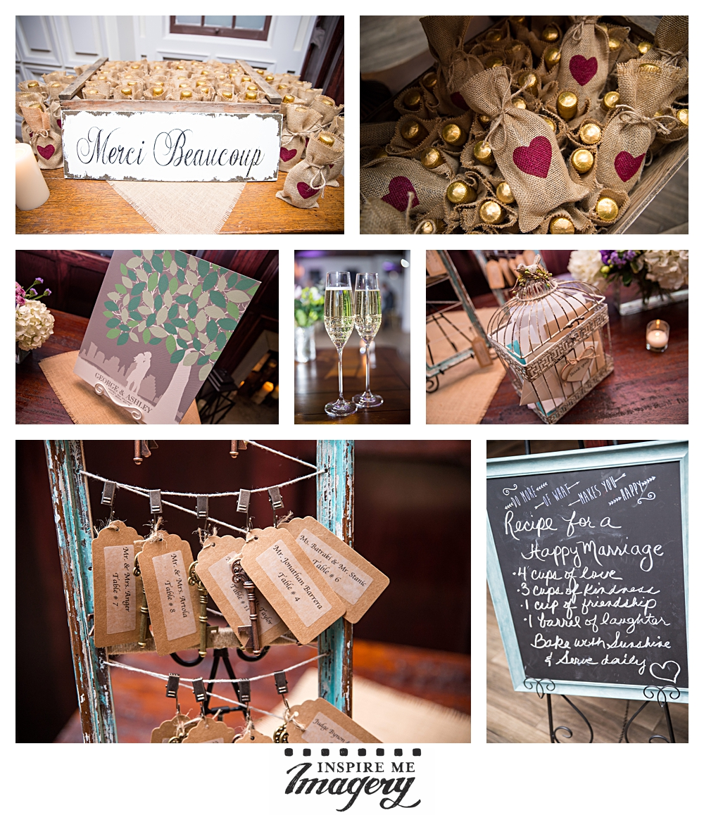 The couple had the most beautiful details. We loved the mini champagne wedding favors, the birdcage for the cards, the cute old timey keys with the seating, and the sweet chalkboard recipe for a happy marriage.