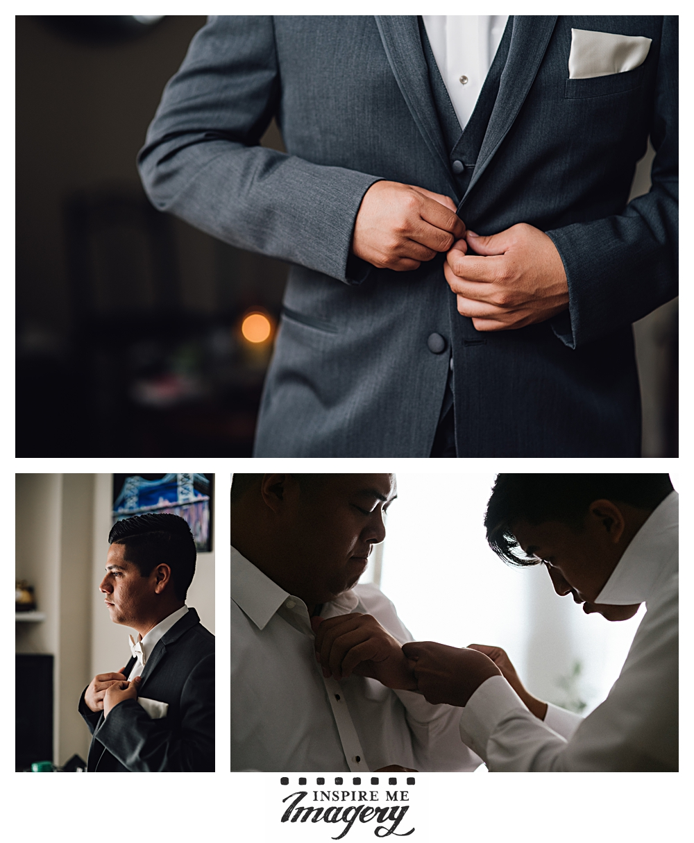 The groom and his best friends start getting ready for the day.