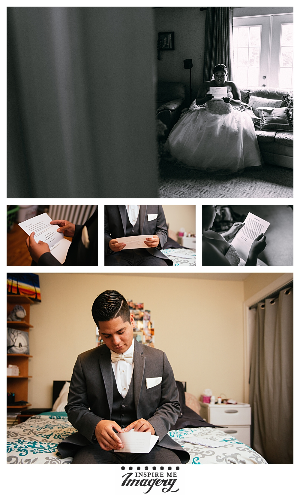 The bride and groom each set aside time for a quiet moment to read beautiful letters they wrote each other.