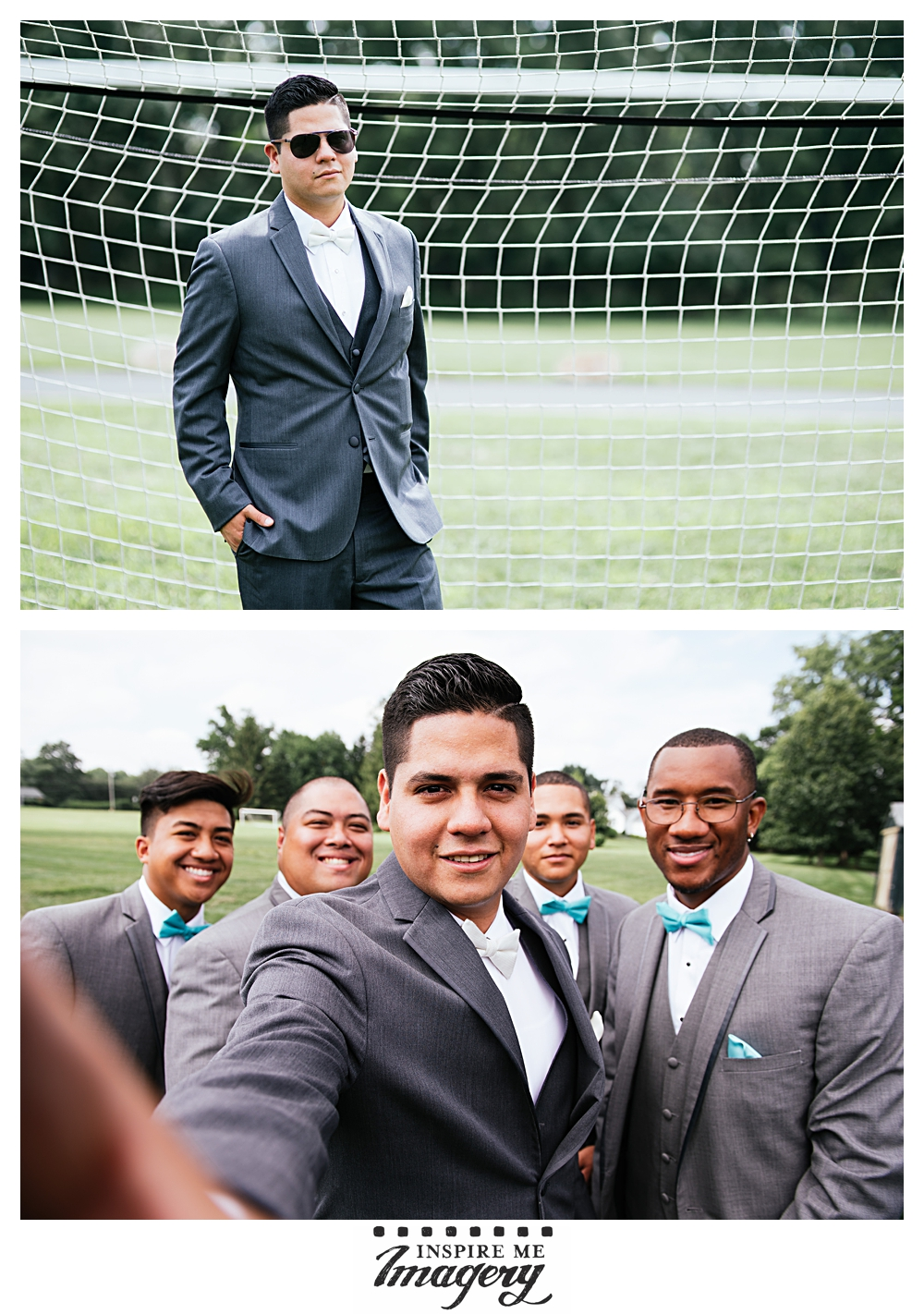 The groom loves soccer, so of course we had to hop in front of the net for a portrait. The second photo here? Professional grade selfie.