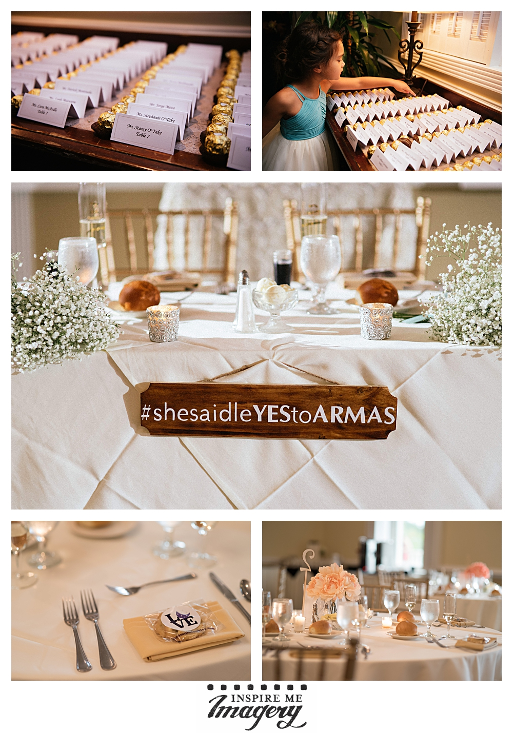 The Copperfield Inn set up the reception room beautifully. We loved the chocolates by the seat placement cards!