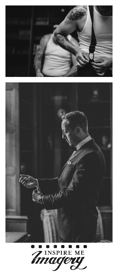 The room where the groom got ready had beautiful window light, and the dark background really made it shine.