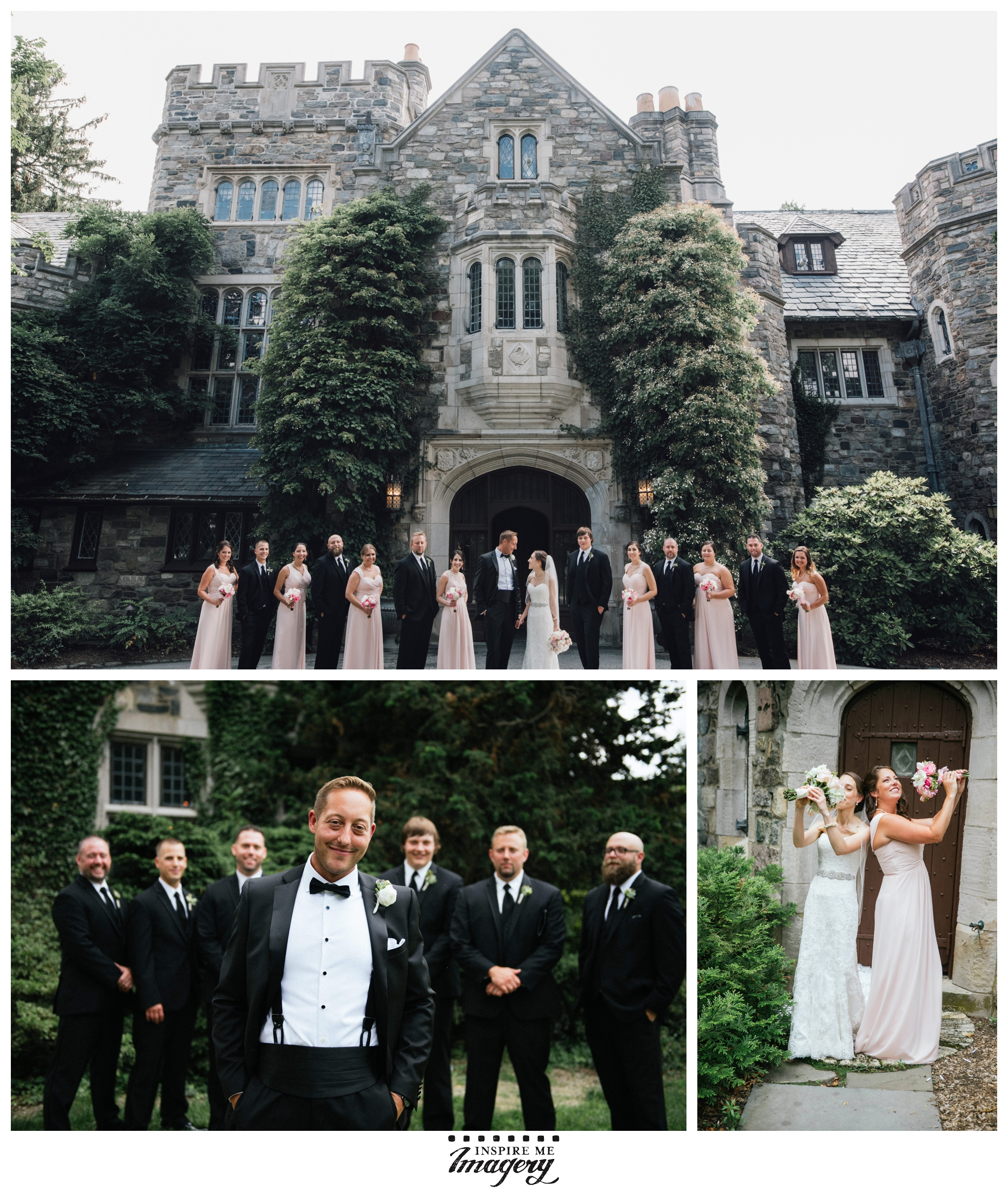 Wedding party portraits in front of Skylands Manor. They were really a fun, wonderful group of people. The pink gowns contrast beautifully with the dark suits.