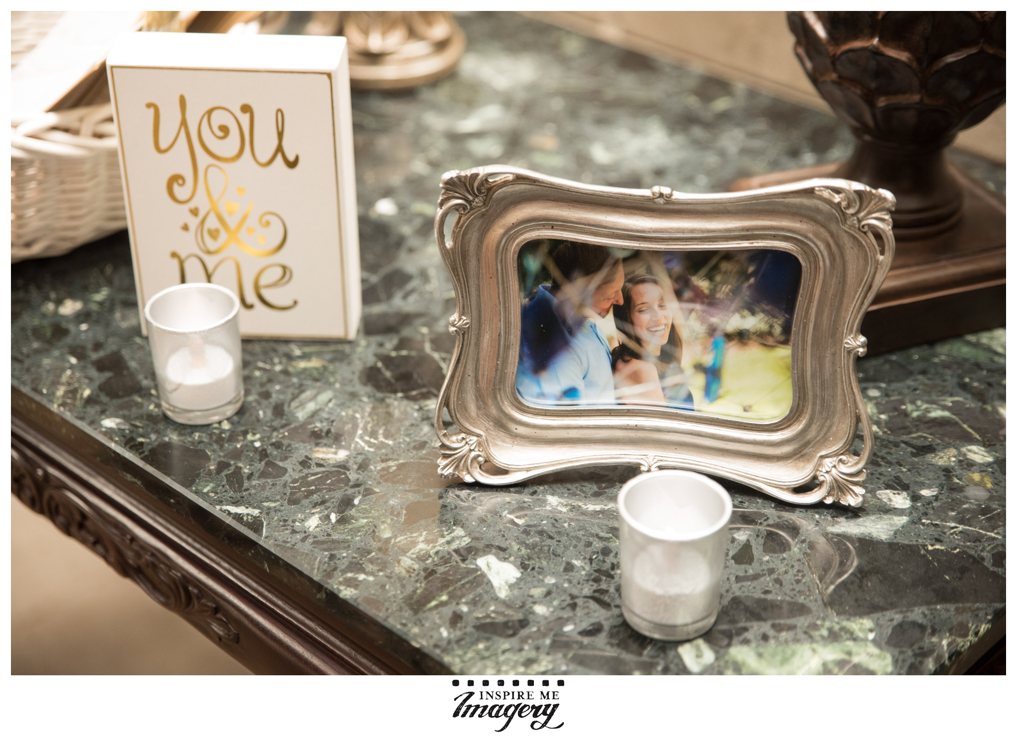 The couple had some photos from their engagement session as part of their decor. Cuteness!