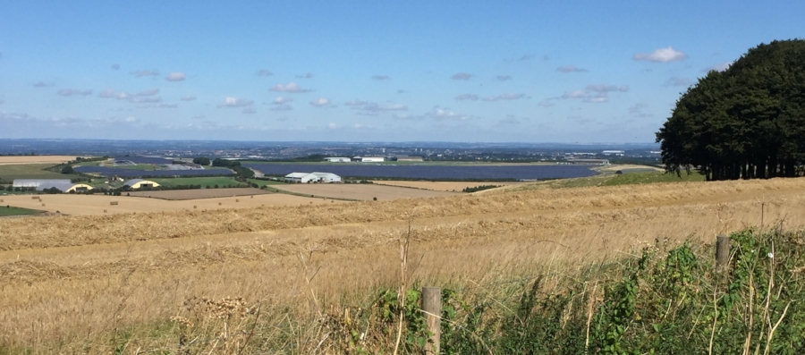 Wroughton Airfield solar park, viewed from the Ridgeway.