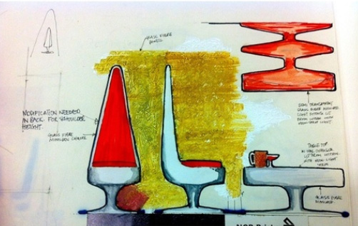 G.L. Evans, Designs for lounge bar seating, 1967-70, acrylic paint, ink and pencil on paper, fragment of rough design drawings and painted sketches on 5 sheets stapled together, SA/AT/24/01/43
