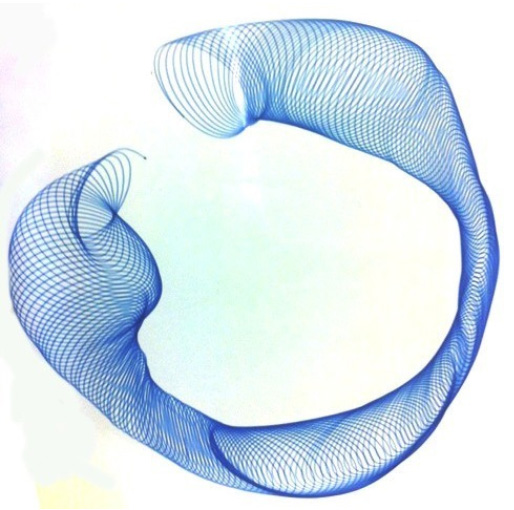 Mike Steveni, Machine drawing of a coiled tube, blue pen on glossy white card, 1969, SA/AT/16/16/8