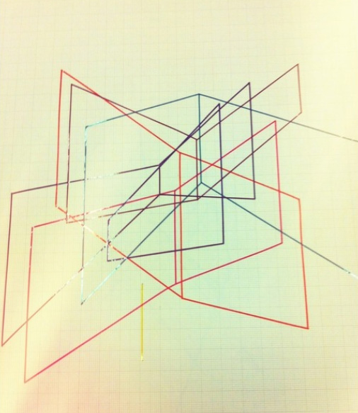 Eddie Price, Drawing: 18 units (lines) random selection from code, 1970-73, 84 x 59.4 cm, coloured stripes of sticky tape on graph paper, SA/AT/16/16/19