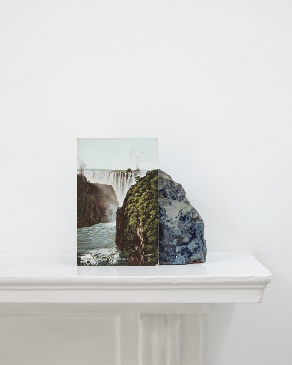 Stuart Whipps, photograph of postcard of Victoria Falls leaning against a geological sample from John Latham's mantlepiece, 2012