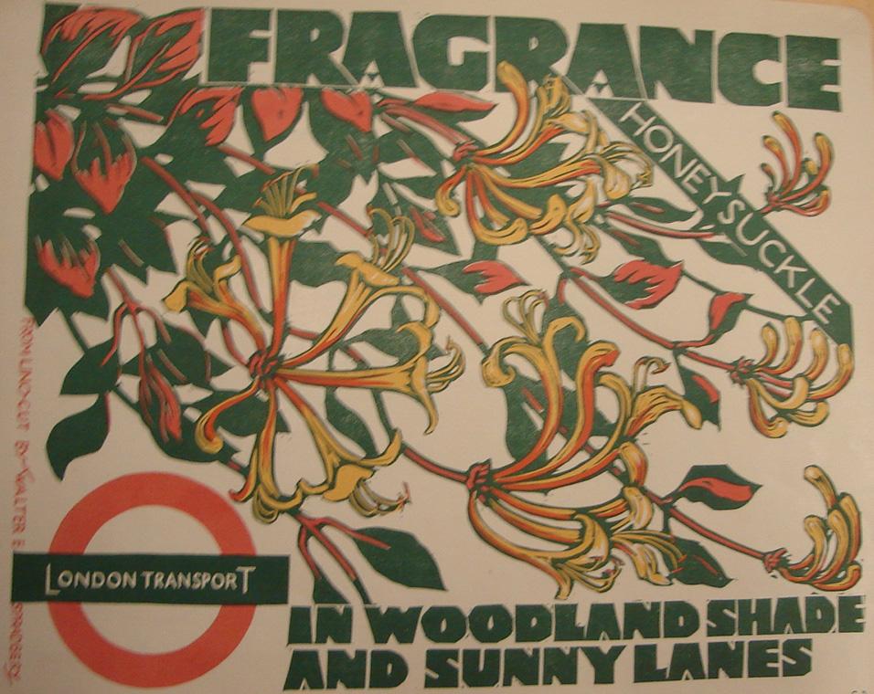 Walter Spradbery, Fragrance: Honeysuckle, London Transport poster, 1936, Birmingham City University Art & Design Archives, SA/SM/4/1/260.
