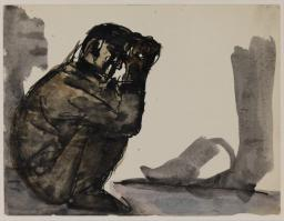 Josef Herman,  Sketch of a squatting miner , date not known, Tate Archives.