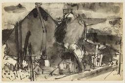 Josef Herman,  Sketch of a mine with slag heap , date not known, Tate Archives.