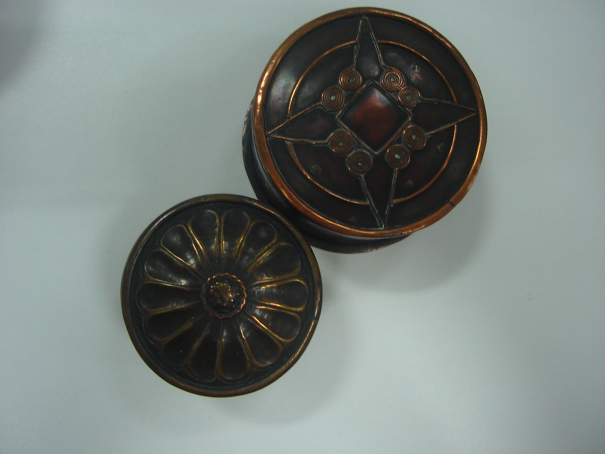 Copper boxes made by Birmingham School of Art students, c.1909-1913