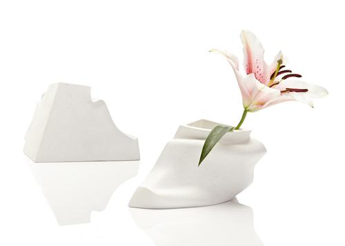 Haidée Drew,  Collar  vase, white marble jesmonite, 2014