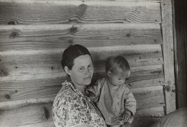 """Miriam and Ira D. Wallach Division of Art, Prints and Photographs: Photography Collection,New York Public Library,""""Wife and child of a tenant farmer in northern Greene County, Georgia""""(1941),New York Public Library Digital Collections."""