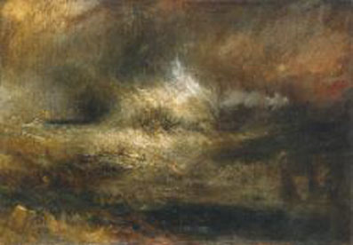 Joseph Mallory William Turner,  Stormy Sea with Blazing Wreck,  c.1835-40, Tate collection, NO4658.