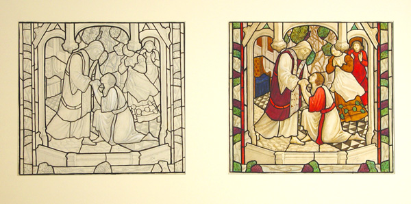 Florence Camm, Preliminary drawing and colour scheme for stained glass design featuring the story of the Prodigal Son, 1901.