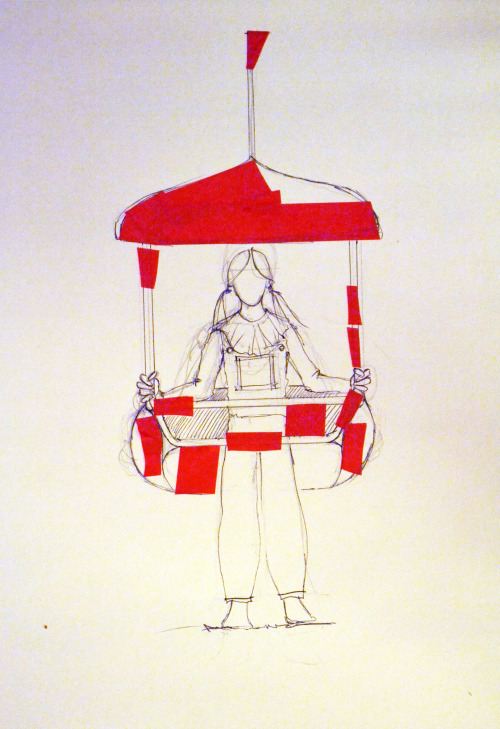 Sarah Coggrave, Design for wearable chairlift costume, 2014.
