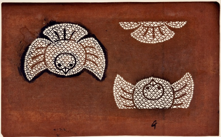 Japanese katagami stencil depicting two sparrows, c.1870, MoDA, KI.4.