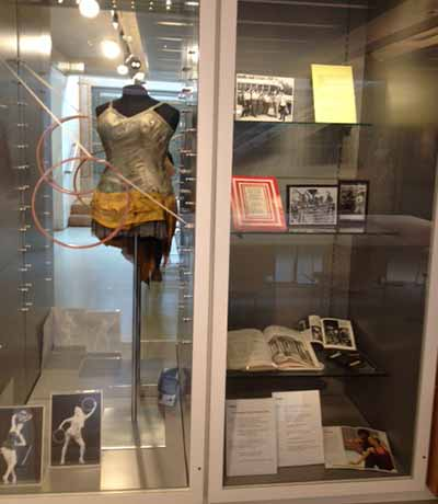 Archive display about Rambert's international touring history