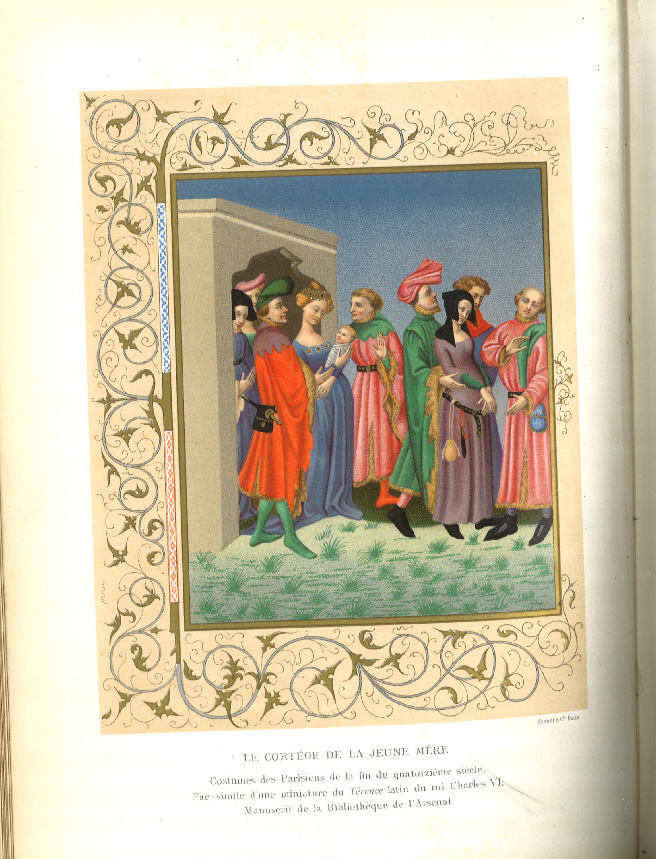 Paul Lacroix,  Le Cortege de la Jeune Mere , plate from Moeurs, usages et costumes au moyen âge et à l'époque de la renaissance,1871, BCU Library Treasures.