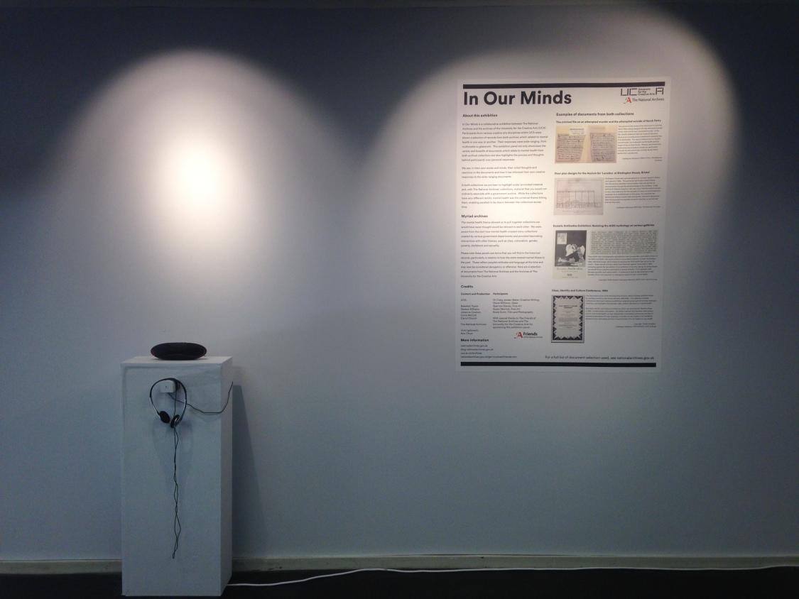Audio piece  Hysteria by Craig Jordan-Baker  on exhibition at UCA, Farnham Campus (2017).