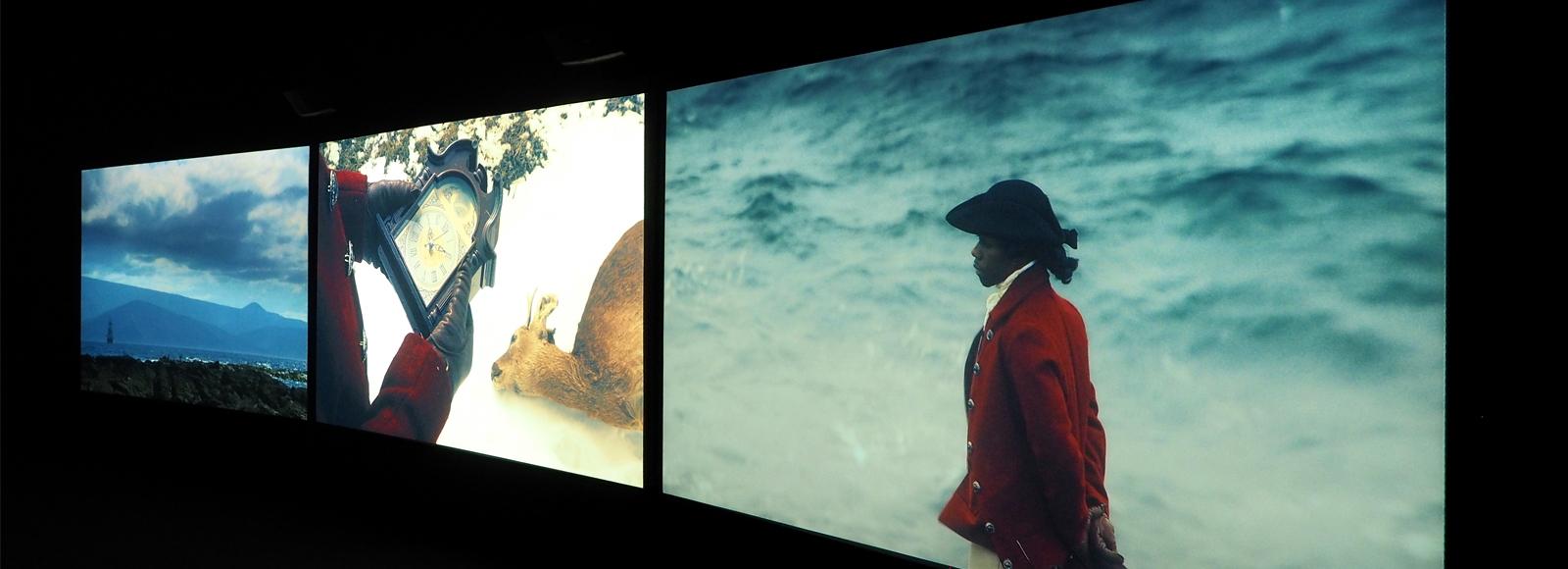 John Akomfrah, Still from  Vertigo Sea , 2015, 3-channel HD video installation.