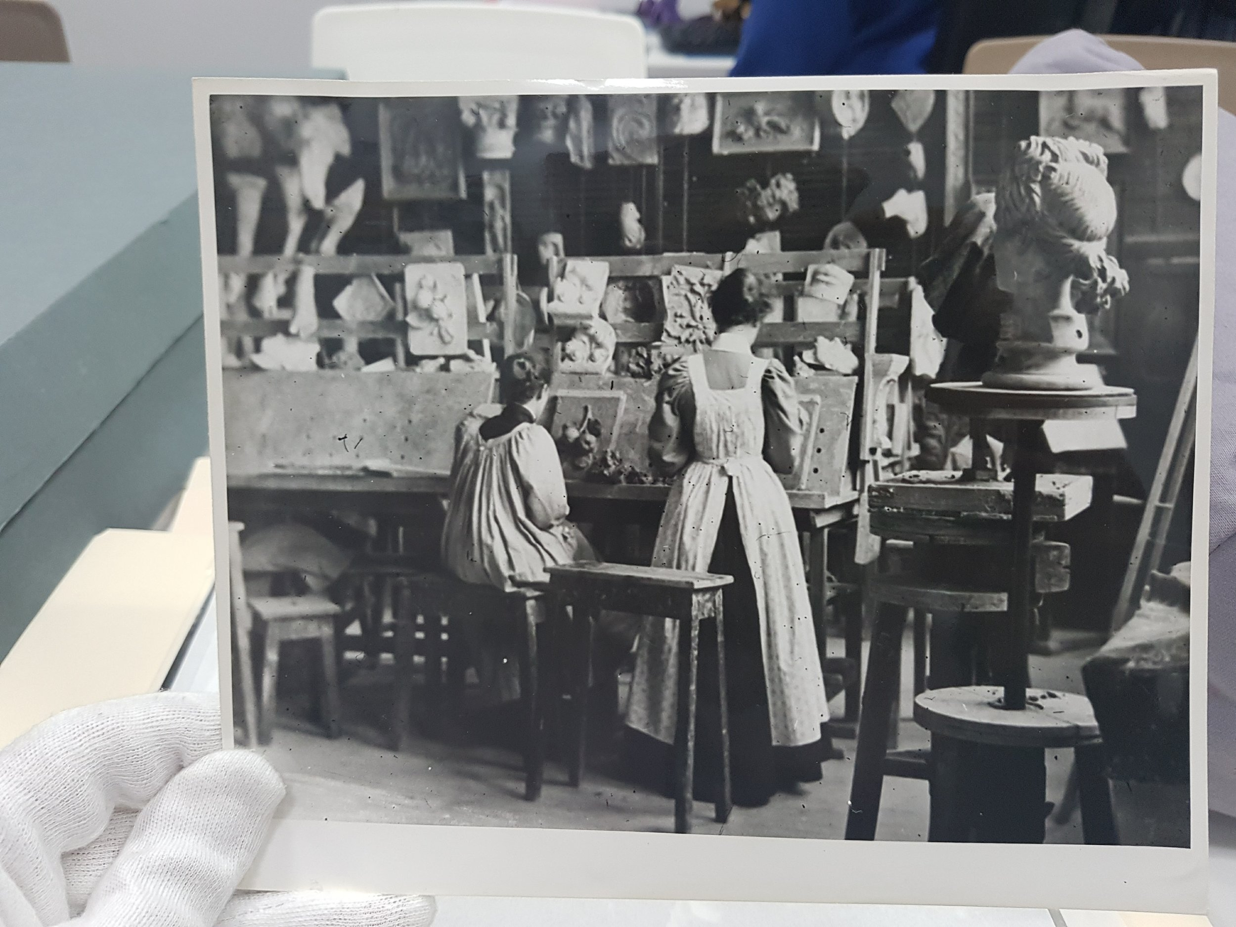 Female students in the modelling workshop, c.1900, BCU Art & Design Archives