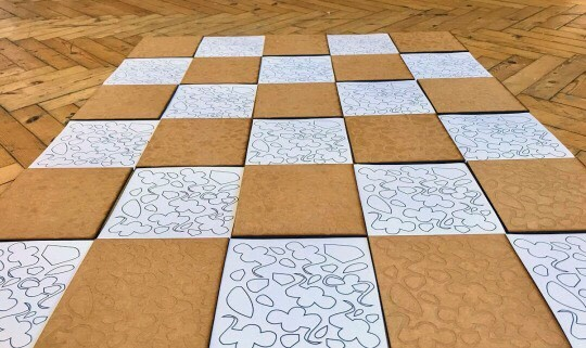 Hannah Elliott, Tiles inspired by Marion Richardson's writing patterns, 2017.