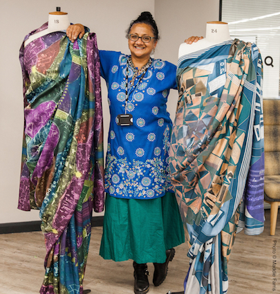 Poulomi Desai with her saris at STEAM European Researchers Night at Heritage Quay, University of Huddersfield, 2017. Photo credit: Maddie Farris.