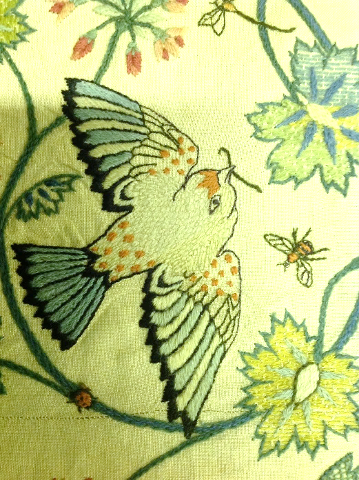 Research photograph of the  Owl  embroidery © Morris & Co. 2009