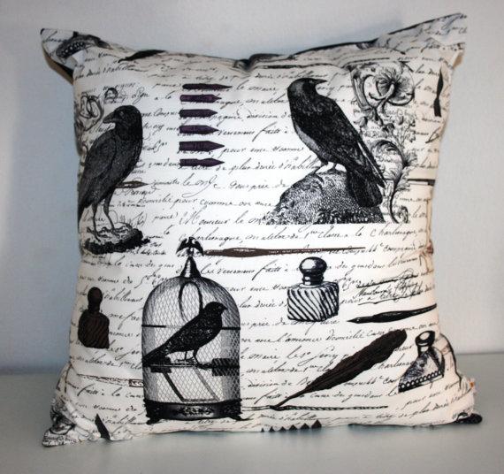 Edgar Allen Poe Raven Pillow Cover