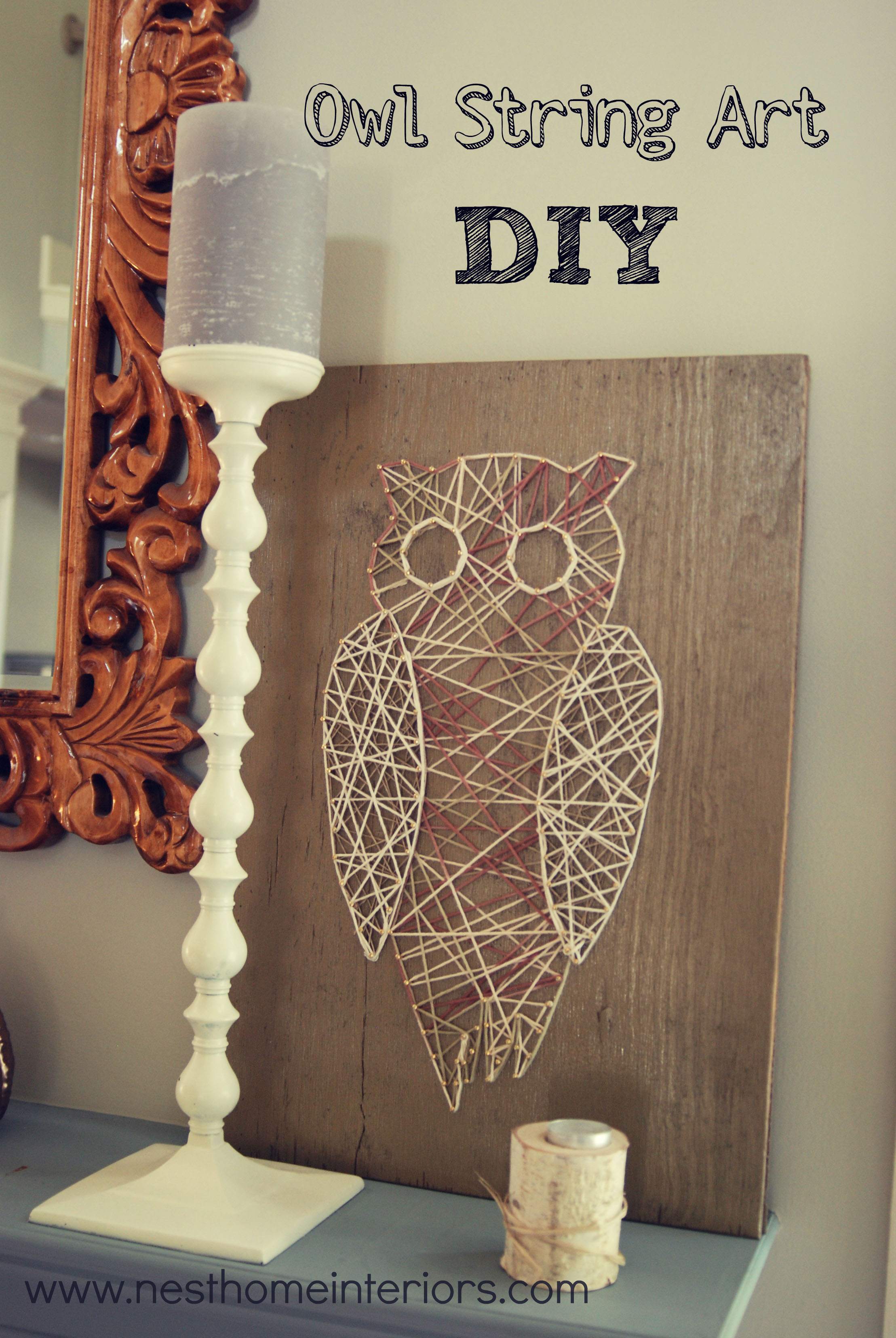Owl String Art via Nest