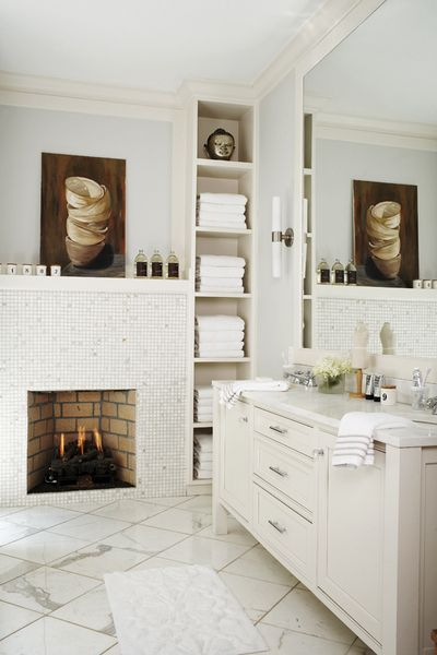 Some day I WILL have enough time on my hands to put a fireplace in the bathroom to good use!