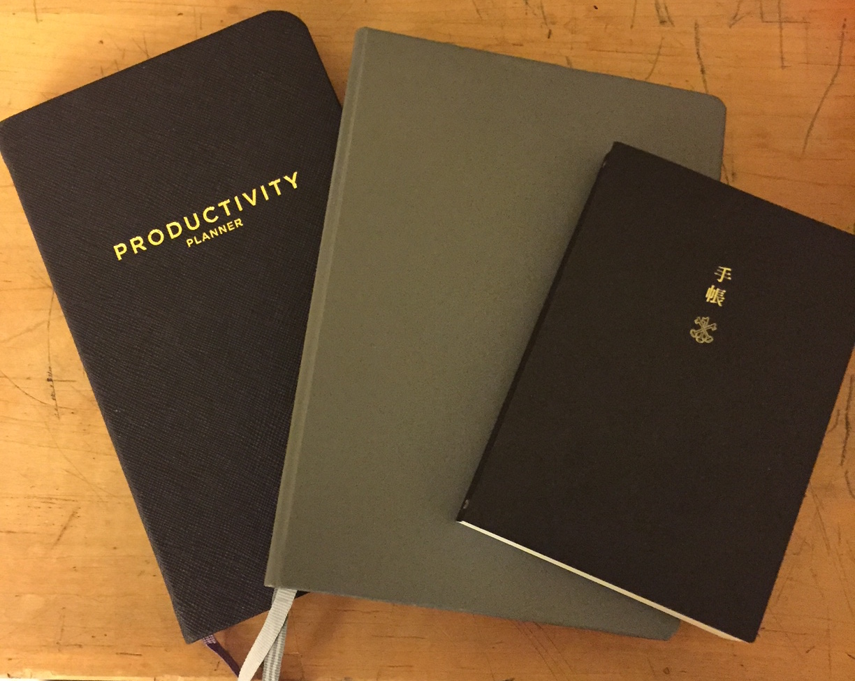 Left to Right: Productivity Planner, Bullet Journal (Leuchtturm 1917), Hobonichi Techo