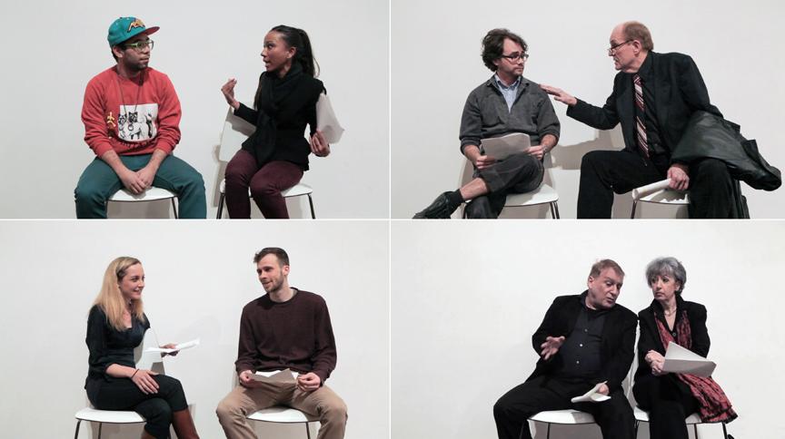 Still Images of performance   Actors:  Oscar Montoya and Melissa Cole David Andrews and Thomas Bradshaw Julie Kitzer and Adam Pasulka Thom Pinto and Gloria Rosen