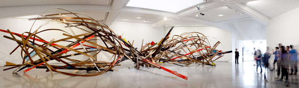 Chaos in Motion, wooden and glass installation, Nice, Mamac, 2013