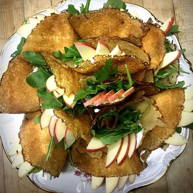 Mini crepes with creme fraiche, agave, apples, pecans and arugula- part of the on-set breakfast for our clients this morning. ☀️☀️☀️#breakfastcatering #onsetcatering #keepyourstaffwellfed #keepyourcrewwellfed #brooklyncaterer