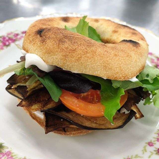 Eggplant Bacon BLT with @sirkensingtons fabanaise on a @kossars bialy on set for breakfast this morning. Yummmmmmm #vegancatering #veganbreakfast #breakfast #keepyourcrewwellfed #onsetcatering #veganblt #baconlettucetomato #breakfastsandwich