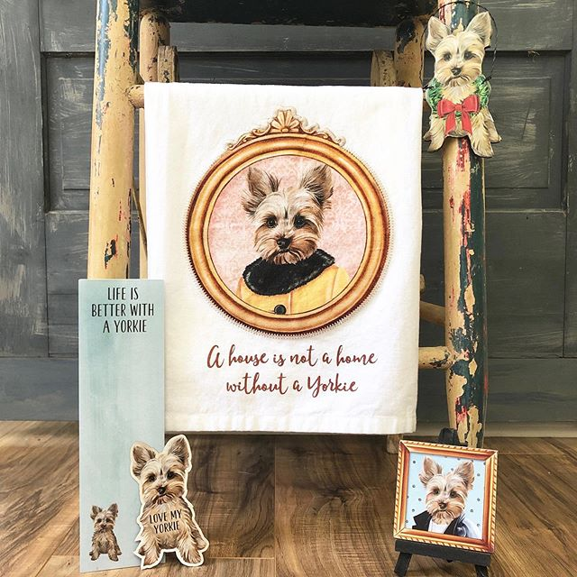 A few of my favorite @primitivesbykathy pet products featuring my Gigi artwork for #nationaldogday 🎨🐶 #Yorkie #petillustration #petgifts