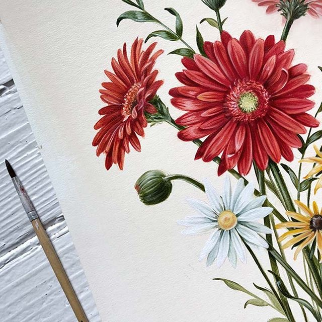 Loving this color palette lately 🎨🌈 #floralpainting #gerberdaisy #wip