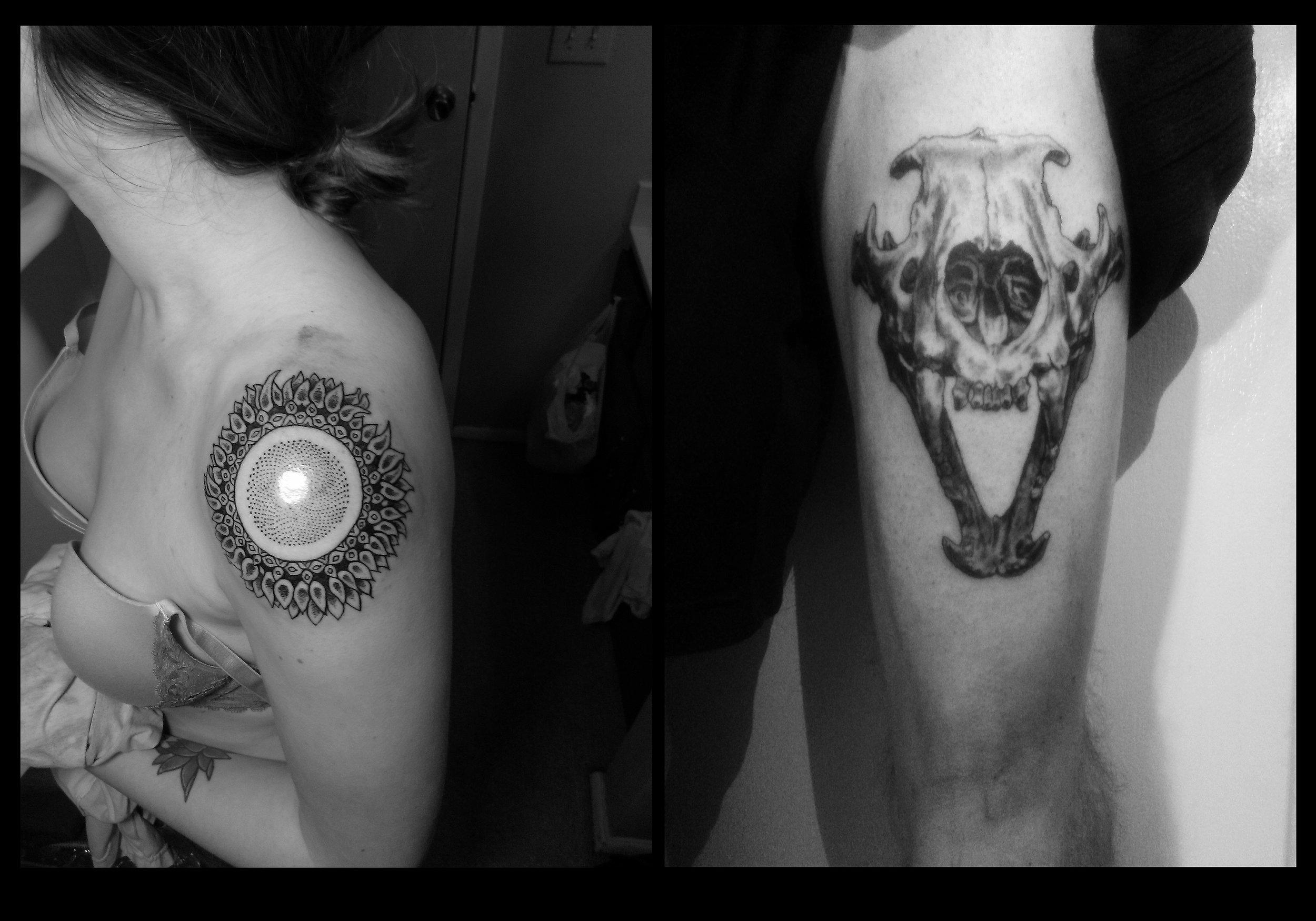skull and sunflower