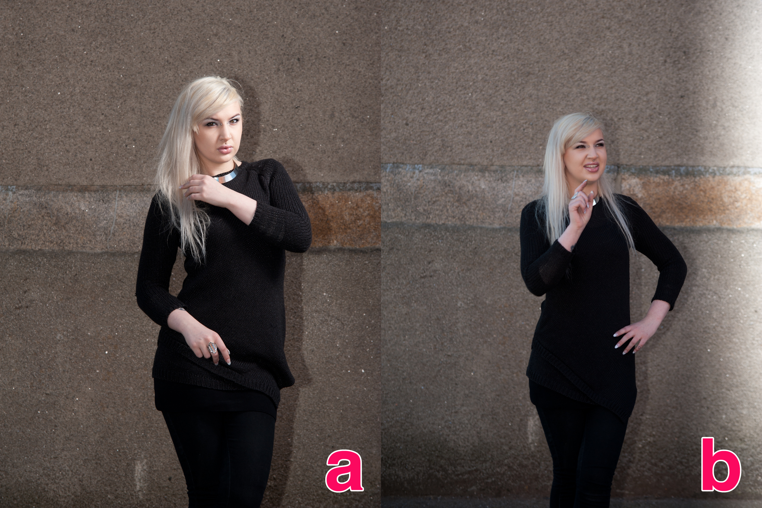 A: The negative fill-flash and B: The 'odd' banding