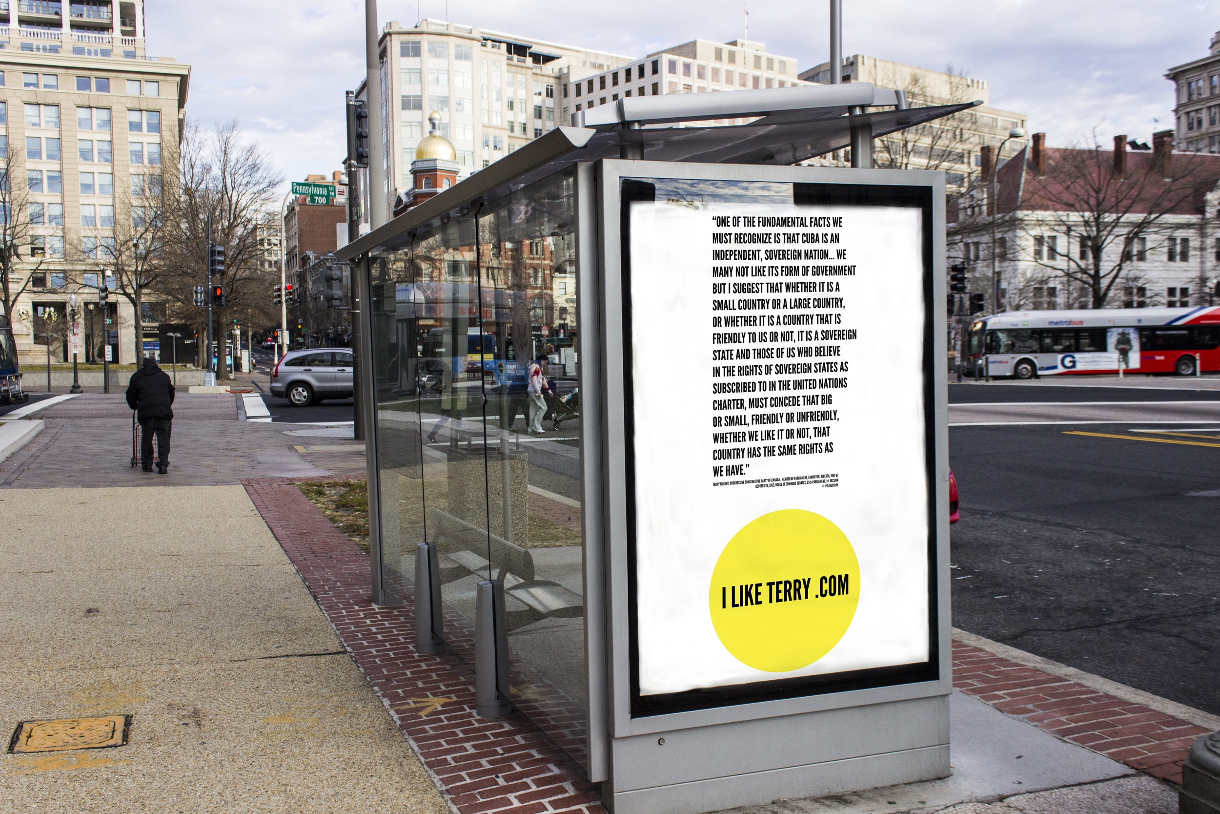 """Bus stop with poster installed. Digital print, 47.25""""W x 68.25""""H."""