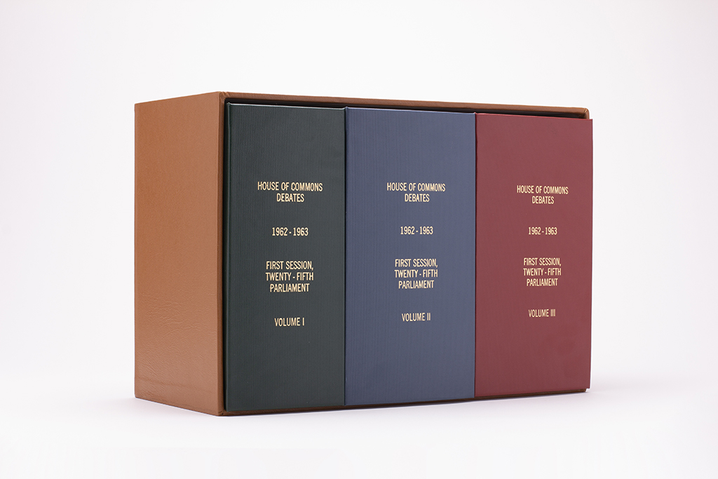 "1st Edition, House of Commons Debates, First Session, Twenty-Fifth Parliament, Volumes I, II, and III (2018). 10.5"" x 7"" x 15.5"".   Photo by Cory Ransom."